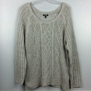 Apt 9 Ladies Gray Glitter Cable Knit Sweater Sz XL